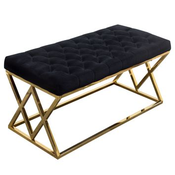 Vixen Accent Bench with Black Tufted Velvet Seat and Polished Gold Stainless Steel Base