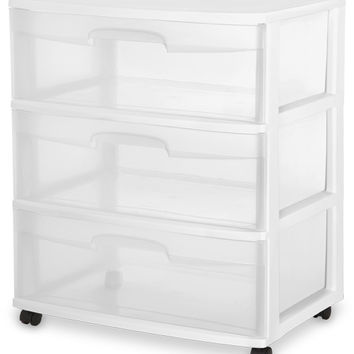 Sterilite 29308001 3-Drawer Wide Cart, White