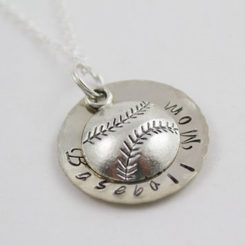 Baseball Mom Personalized Stamped Silver Baseball /Softball Sports Necklace