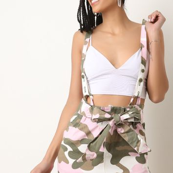 Pink Camo Suspender Mini Skirt