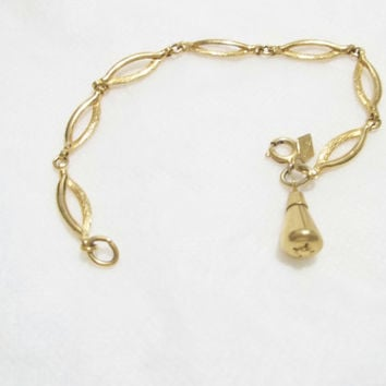 Vintage Sarah Cov, Sarah Coventry Charm Bracelet, 1960's Gold Filled Chain, Hang tag on bracelet
