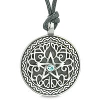 Amulet Pentacle Magic Star Celtic Defense Powers Pentagram Sky Blue Crystal Pendant Adjustable Necklace