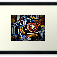 'Nuts and Bolts Pop Art' Framed Print by DesignsbyAngela
