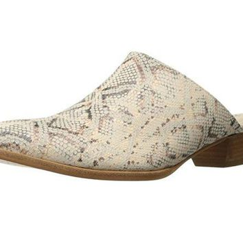 ICIKAB3 Matisse Clover Leather Mule Shoes Natural Snake