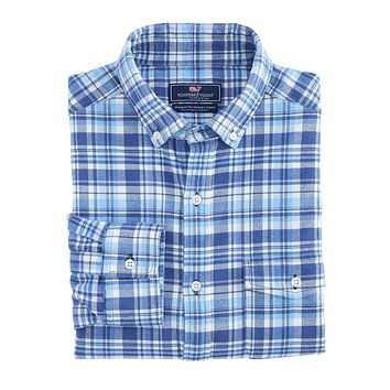 Mill Hill Flannel Classic Crosby Shirt in Moonshine by Vineyard Vines