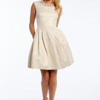 Jacquard Cap Sleeve Dress