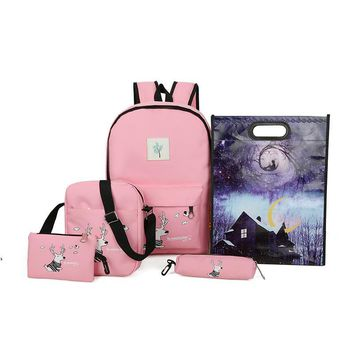 Brand 5 pieces / set Women backpack deer pattern book bag girl print canvas backpack ladies shoulder bag