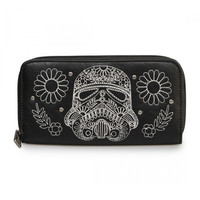 Star Wars Storm Trooper Walking Stitch Floral Denim Wallet