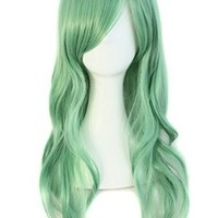 "MapofBeauty 28"" 70cm Long Curly Hair Ends Costume Cosplay Wig (Celadon Green)"