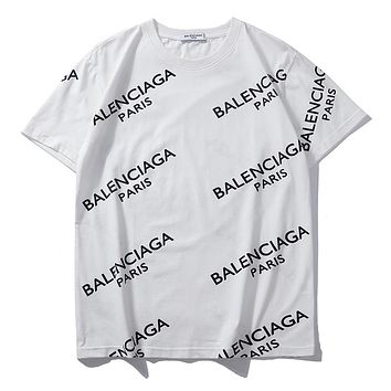 Balenciaga summer new full printed logo trend round neck half sleeve shirt White