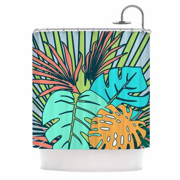 """bruxamagica """"Topical Leaves Blue"""" Blue Green Floral Nature Illustration Digital Shower Curtain"""