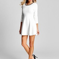 Long-Sleeve Flare Dress With Embellished Neckline | GUESS.com