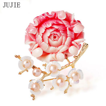 JUJIE Pink Flower Brooches For Women 2016 Freshwater Pearl Shell Plum Brooch Pins Corsage Antique Dress Accessories Female