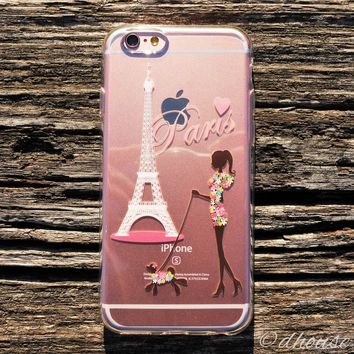MADE IN JAPAN Soft Clear iPhone Case - Girl Love Paris Eiffel Tower