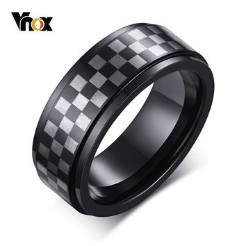 Vnox 8mm Tungsten Rings for Men Unique Checkerboard Grid Texture Wedding Band Casual Male Anel