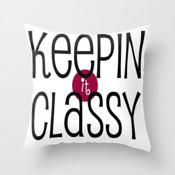 Classy Throw Pillow by Bunhugger Design