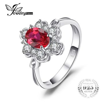 JewelryPalace Elegant 1.5ct Oval Created Red Ruby Engagement Anniversary Promise Ring 925 Sterling Silver Fine Jewelry 2017 New