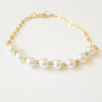 Delicate Pearl Bracelet on Gold Chain , Bridesmaid Gift , Help me tie the knot , be my bridesmaid , wedding jewelry , monogrammed bracelet