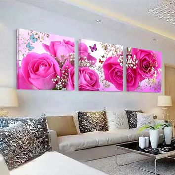 Modern Home Wall Art Decoration Pictures Modular Picture 3 Pieces Pink Rose Flower HD Printed Canvas Painting Bedroom