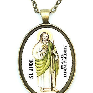 St Jude Patron Saint of Extreme Challenges Huge 30x40mm Antique Bronze Gold Pendant with Chain Necklace