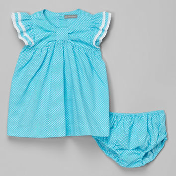 Les Petits Soleils by Fantaisie Kids Aqua Polka Dot Dress - Infant & Toddler | zulily