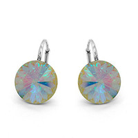 Aurora Borealis Sterling Silver 925 Made with Swarovski Crystals Round Leverback Earrings for Women
