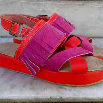 Leather Sandals with platform,coral and fuchsia Height: 1.3  inch. (3 cm)/ wedge shoes.  (also available in large size)