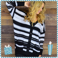 Uphill Trails Gray Striped Sweater Cardigan