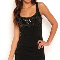 Dress with Sequin Bodice and Shutter Skirt