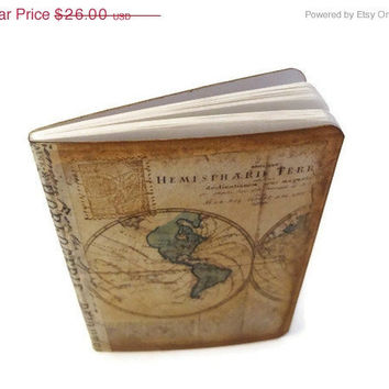 Set of 3 Travel Journals, Old World Map, Mini Travel Notebooks, Moleskine, Small Travel Journals, Wanderlust, Vacation Journal, CIJ 10% Off