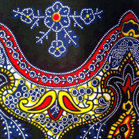 African Wax Print Fabric by the HALF YARD. Embroidery-like pattern in dark green, blue, white, red, and yellow.