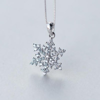 Christmas gifts-925 sterling silver shining snow necklace + Nice gift box ALQ