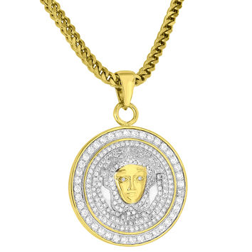 Circle Medusa Head Pendant Fully Iced Out 18K Gold Finish Free Chain