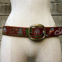 Tooled Leather Belt Vintage 1970s Hippie Snoopy Pink Panther Painted Distressed