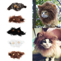 Funny Cat Dog Wig Emulation Lion Hair Mane Ears Head Cap Autumn Winter Dress Up Costume Muffler Scarf
