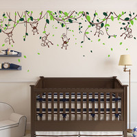 JUNGLE MONKEY Vine Kids Nursery Wall Mural Sticker Decal Kid Wall Decal Nursery decal Animal vine branch boy Monkeys wall decal Wall Sticker