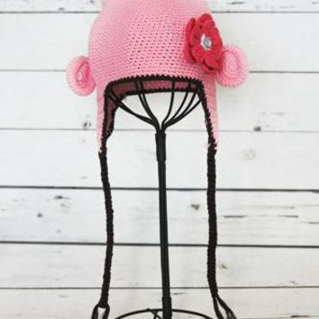 Light Pink With Flower Crochet Baby Hat - LAST CALL - CCN20