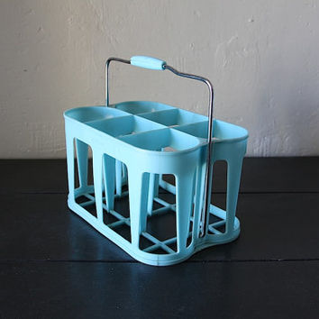 Mid Century Bottle Carrier Wine Rack Loft Decor For 6 Bottles Turquoise Blue