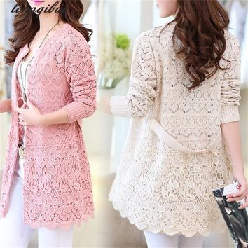 Spring and Autumn new women 's large yards loose in the long section of embroidered hollow knit thin cardigan windbreaker TB61