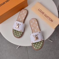 Louis Vuitton Lv Lock It Flat Mule White / Green Sandals - Best Online Sale