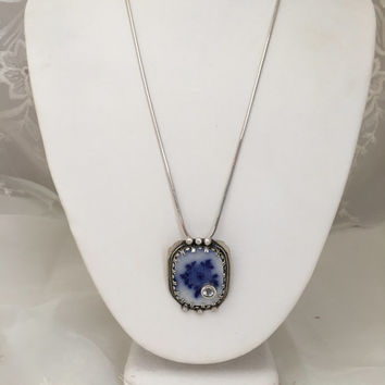 Handmade, Flow blue, sterling silver necklace, white topaz gemstone, OOAK, sterling silver pendant, cobalt blue, broken china jewelry,