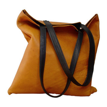 Leather Tote , Soft leather bag , Honey tan brown leather handbag , Soft leather tote bag, Black Every day bag
