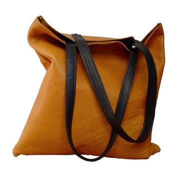 SALE Soft Leather Bag, Orange & Brown from ManoBello on Etsy
