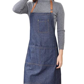 Denim chefs cooking apron for your man who likes to Cook For The Family.