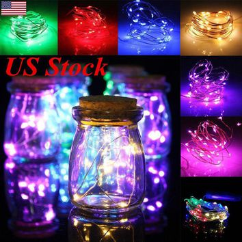 US 1m 2m 3m 4m LED Battery Powered Fairy String Lights Xmas Party Festival Lamp