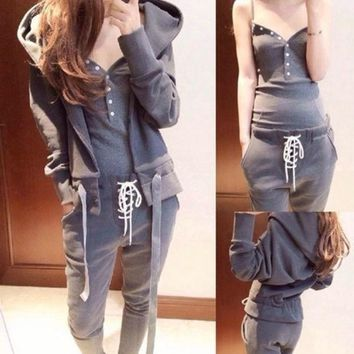 CREYUG3 2014 Fashion Sport Suit Women Sweatshirt Galaxy Pullovers Solid Hoodies Casual Tracksuits 3pcs Women Sets Clothing = 1932583044
