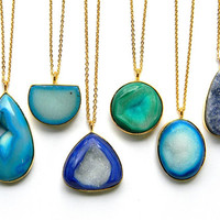 Blue Turquoise or Green Druzy Necklace - Long Layering Necklace - Druzy Drusy Crystal Necklace - Gold Necklace - Boho Chic Necklace