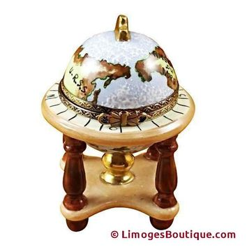 GLOBE ON STAND LIMOGES BOX