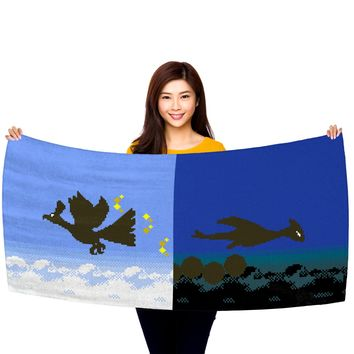 """Pokemon Gold and Silver, Ho-Oh and Lugia Silhouettes 30"""" x 60"""" Microfiber Beach Towel"""