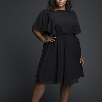 Flaired Sleeves Black Pleated baby doll Dress